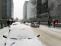 Bucharest pod śniegiem w Luty Zdjęcia Royalty Free