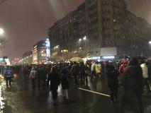 Bucharest protest Arkivbild