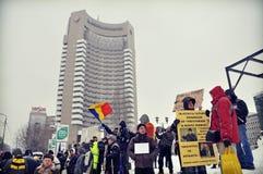 Bucharest protest - 15th dag 12 Arkivfoto