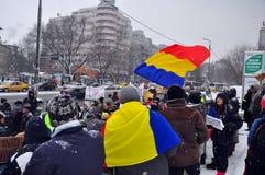 Bucharest protest - 15th dag 7 Royaltyfria Bilder