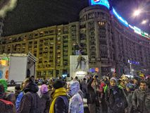 Bucharest protest January 2017 piata victoriei Royalty Free Stock Image
