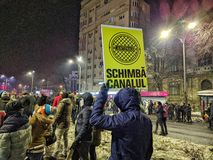 Bucharest protest January 2017 piata victoriei Royalty Free Stock Photography