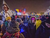 Bucharest protest January 2017 piata victoriei Stock Photo