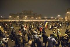 Bucharest protest mot regeringen Royaltyfri Foto