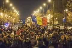Bucharest protest mot regeringen Arkivbilder
