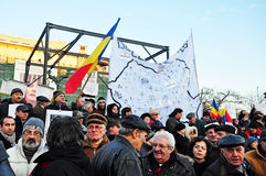 Bucharest Protest - University Square 14 Stock Image