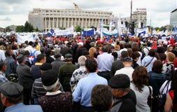 Bucharest-Protestanten vor dem Governement Lizenzfreie Stockfotografie