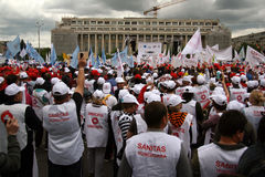 Bucharest Protestants in front of the Governement Stock Images