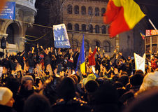 Bucharest Protests - 19 january 2012 - 7. 19 january 2012 - Thousands of people were protesting against current president Traian Basescu and his government in Royalty Free Stock Photo
