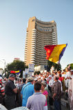 Bucharest protests against president Basescu. Several hundred people gathered in University Square after the Constitutional Court announced its ruling of a Royalty Free Stock Image