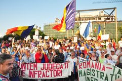 Bucharest protests against president Basescu. Several hundred people gathered in University Square after the Constitutional Court announced its ruling of a Royalty Free Stock Photography