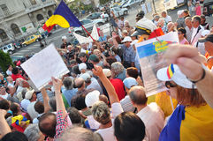 Bucharest protests against president Basescu Royalty Free Stock Photo