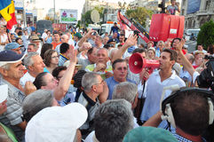 Bucharest protests - Mircea Badea talk to crowd Stock Image