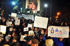 Bucharest Protesty 16 - 19 Styczeń 2012 - Fotografia Royalty Free