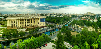 Bucharest -- Radio House Ruin Aerial View Stock Photography