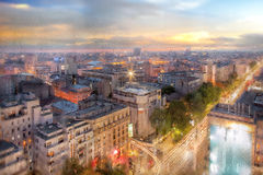 Bucharest in a rainy day. stock photos
