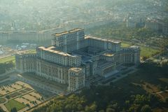 Bucharest, Romania, April 10, 2015: Aerial view of the Palace of the Parliament in Bucharest. Romania stock photography