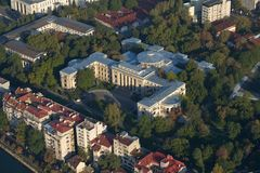 Bucharest, Romania, April 10, 2015: Aerial view of the Rector University of Bucharest stock photography