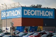 Decathlon Pallady store front and entrance in Sector 3, Bucharest, Romania. Bucharest, Romania - April 16, 2019: Decathlon Pallady store front and entrance in royalty free stock image