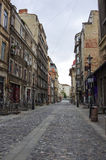 Bucharest, Romania - April 27, 2014: Downtown street in early mo Royalty Free Stock Images