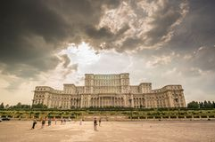 BUCHAREST, ROMANIA - August 08: Palace of Parliament on August, royalty free stock photo
