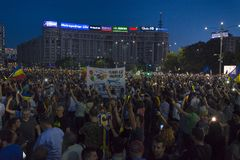 Diaspora protest in Bucharest against the government. royalty free stock image
