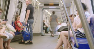 BUCHAREST, ROMANIA - AUGUST 4TH 2017: people riding a metro car stock video