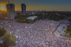 Diaspora protest in Bucharest against the government. Stock Image