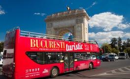 Bucharest, Romania, August 2018: Tourist explores Bucharest on a royalty free stock photo