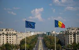 Unirii Boulevard and flags. stock photos