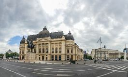 Central University Library in Bucharest Romania. BUCHAREST, ROMANIA - 07.21.2018. Central University Library Bucharest University in Romania. Panoramic view royalty free stock photography