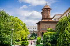 Park clkose to Cretulescu Kretzulescu Church in downtown Bucharest royalty free stock photos