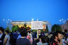 Bucharest, Romania, day 93 of antigovernment protest. Royalty Free Stock Photo