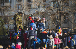 BUCHAREST, ROMANIA, DEC. 1: Military Parade on National Day of Romania Stock Photos