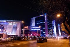 AFI Cotroceni shopping mall and office buildings by night. BUCHAREST, ROMANIA - December 22, 2017: AFI Cotroceni shopping mall and office buildings stock photos