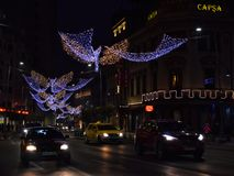 Bucharest nightlife in December with Christmas decorations on Calea Victoriei Boulevard stock image