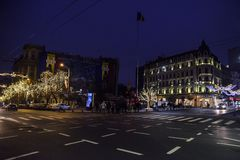 Bucharest nightlife in December with Christmas decorations on Calea Victoriei Boulevard stock images