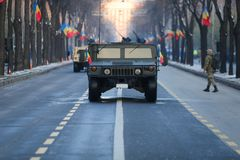 Humvee military vehicle. BUCHAREST, ROMANIA - December 1, 2018: Humvee military vehicle from the Romanian army at Romanian National Day military parade stock image