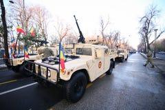 Humvee military vehicle. BUCHAREST, ROMANIA - December 1, 2018: Humvee military vehicle from the Romanian army at Romanian National Day military parade royalty free stock photos