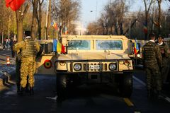 Humvee military vehicle. BUCHAREST, ROMANIA - December 1, 2018: Humvee military vehicle from the Romanian army at Romanian National Day military parade royalty free stock images
