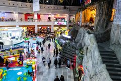 Interior of Afi Palace Cotroceni shopping mall. Food court and kids area. BUCHAREST ROMANIA December 26 2017 : Interior of Afi Palace Cotroceni shopping mall stock photography