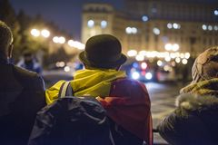 People protest in front of the Romanian Parliament stock photos