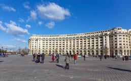 BUCHAREST, ROMANIA - DECEMBER 31: Piata Constitutiei on December 31, 2015 in Bucharest. stock photos