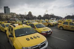 Romanian taxi drivers protest Royalty Free Stock Photos
