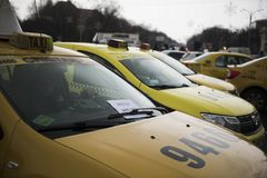 Romanian taxi drivers protest Royalty Free Stock Photo