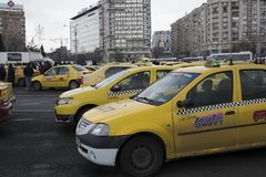 Romanian taxi drivers protest Stock Images