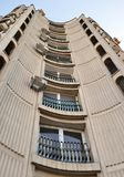 Bucharest, Romania: detail of Ceausescu-era apartment block. A view of one of the apartment blocks close to the Palace of the Parliament in Calea 13 Septembrie stock photos
