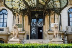 Entrance to an old building, downtown Bucharest royalty free stock photos
