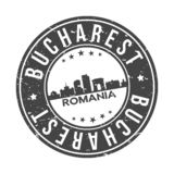 Bucharest Romania Europe Round Button City Skyline Design Stamp Vector Travel Tourism stock illustration