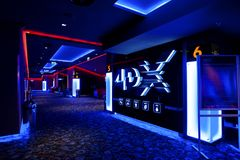 Cinema lounge 4DX experience at the Mega Mall. BUCHAREST ROMANIA - Feb 10 2017 Cinema lounge 4DX at the Mega Mall shopping center in Bucharest , Romania Royalty Free Stock Image
